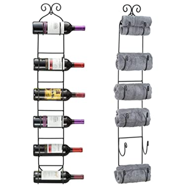 Sorbus Wall Mount Wine/Towel Rack (Holds 6 Bottles)