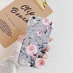 Case for iPhone 6S Plus/6 Plus Cover,Cute Ultra Thin Girl Women Leaves Flowers Floral Design Flexible Soft Rubber Gel TPU Back Protective Case Cover for iPhone 6S Plus/6 Plus Silicone Case,Gray Flower
