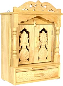 Wooden Temple/Mandir for Home/Temple for Home Wall/Home Temple/Mandir/Pooja Mandir/Pooja Temple/Cabinet Temple/Mandap/Temple for Home/Handicraft Sevan Wooden Temple AMBA AHTP008