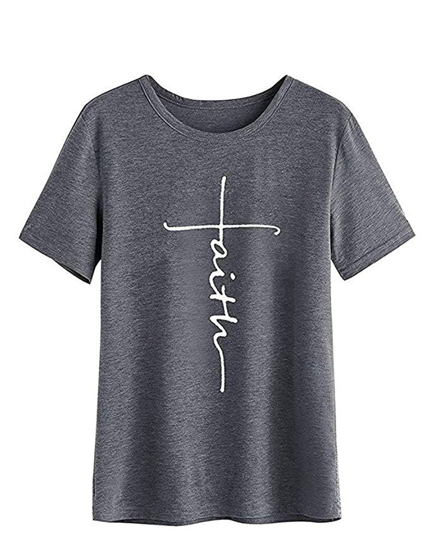 FCYOSO Womens Graphic Faith Printed T-Shirt Causal Christian Tees ZXH2018073009