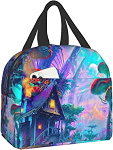 antfeagor Psychedelic Trippy Lunch Box Insulated Meal Bag Lunch Bag Reusable Snack Bag Food Container for Boys Girls Men Women School Work Travel Picnic