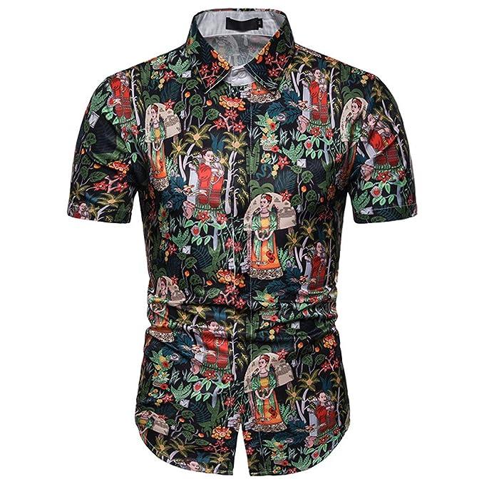 14759603 YKARITIANNA Summer Casual Fashion Mens 3D Color Print Trend Color  Short-Sleeved Shirt Blouse 2019