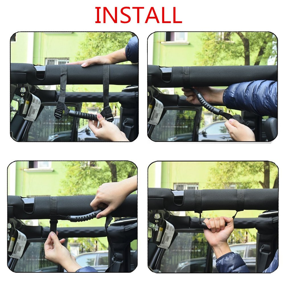 GOODYBUY Roll Bar Grab Handle for Jeep Heavy Duty Roll Bar Side Grab Handle with Adjustable Straps Durable Wrangler Accessories for 1995-2017 Jeep Wrangler YJ TJ JK Pack of 4