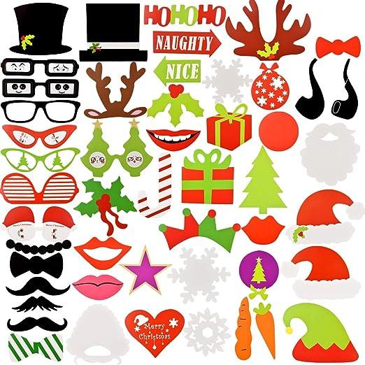 NATUCE 50 Piezas Navidad Kit de Accesorios, Atrezzo Photocall Navidad Bricolaje Kits con Bigotes, Labios, Corbatas, Gafas y Sombreros Para Fiesta Mascarada, Fiesta de ...