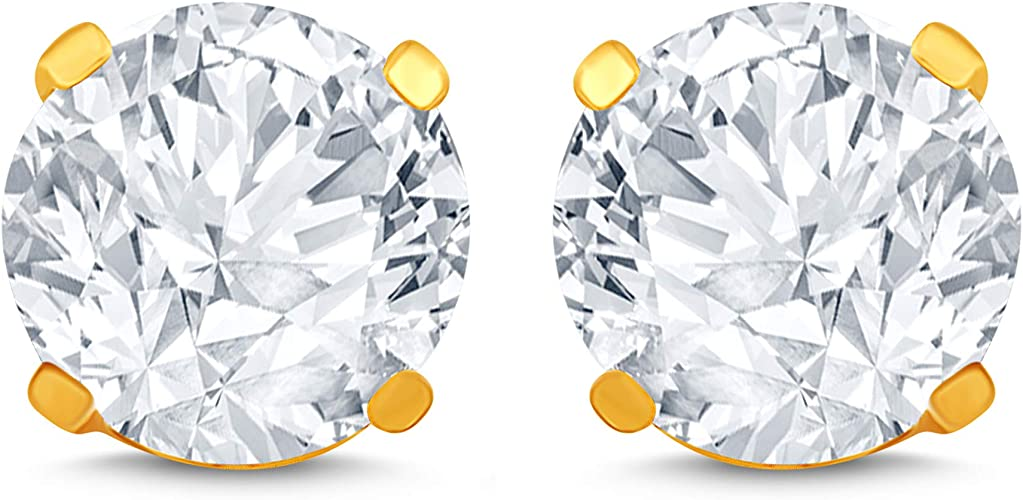 14Kt Yellow Gold 1//3 Ct Genuine Natural Diamond Round Stud Earrings