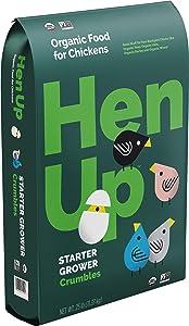 Hen Up Organic | Starter Grower Crumbles Chicken Food | 25 Pound (25 lb) Bag