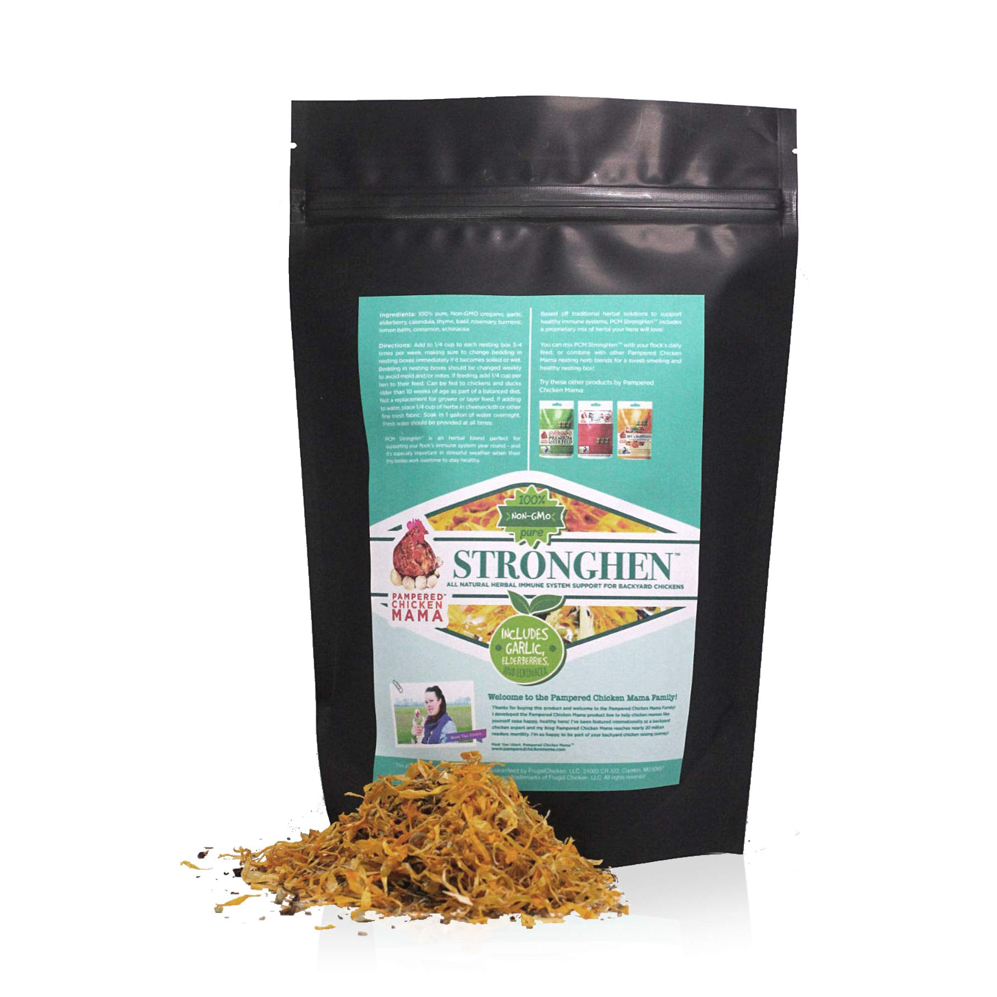Backyard Chicken Nesting Herbs All Natural Feeding Supplement to Support Healthy Immune Systems (StrongHen) (10 Ounces) by Pampered Chicken Mama