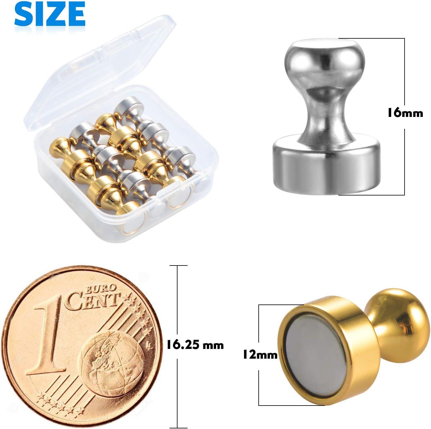 lavagna 24Pcs Silber+Gold frigorifero bacheca Argento+oro Zalava Forti magneti al neodimio extra forti N52 spilli con scatola di stoccaggio per lavagna magnetica