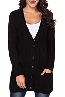 0e07921d5d8 LOSRLY Women Open Front Cabel Knit Cardigan Button Down Long Sleeve Sweater  Coat Outwear with Pockets YL27837
