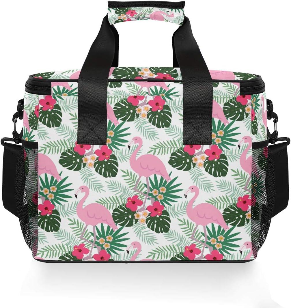LUPINZ Tropical Ananas fenicottero Plam Foglie Borsa frigo Borsa per il pranzo ampia apertura
