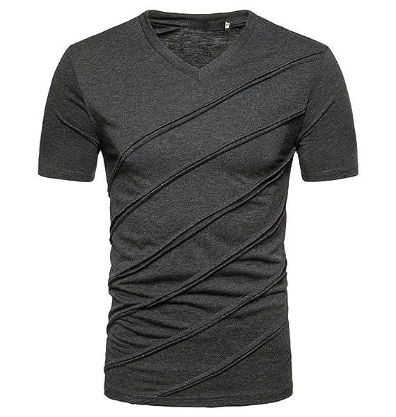 ZEZKT-Herren T-Shirt Kurzarm Shirt V-Ausschnit Einfarbig Casual Tee Crew e02e3affa2