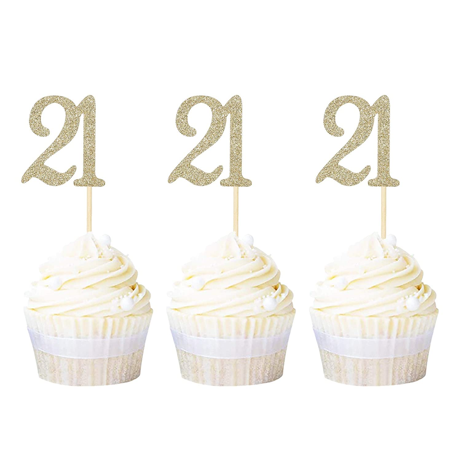 Rose Gold 3 Pieces 21st Birthday Cake Toppers Happy 21st Birthday Cake Cupcake Topper Picks Glitter Cake Decoration for Birthday Party Cake Supplies