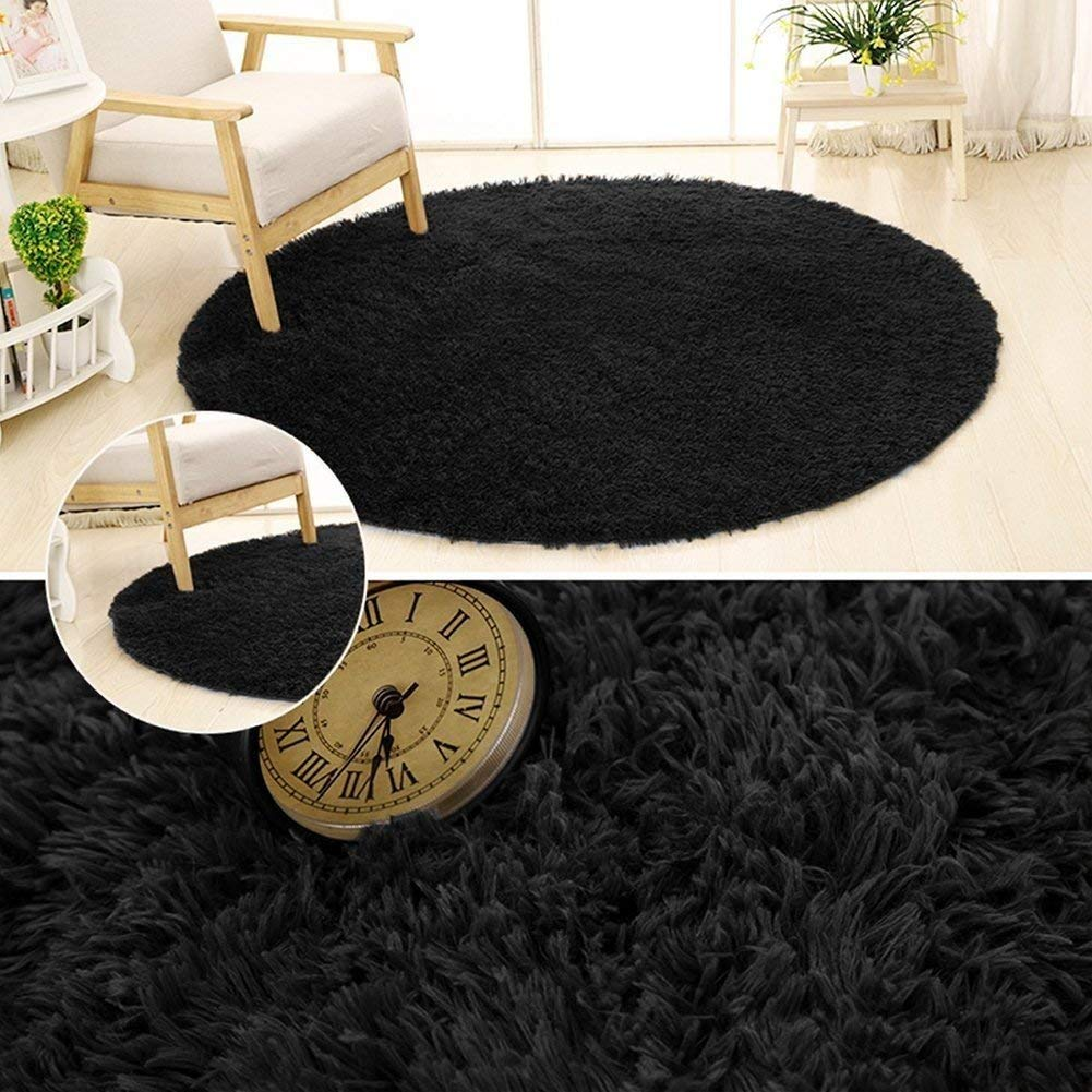 SANMU Soft Round Rug,Fluffy Silky Carpet Fashion Color Smooth Bedroom Mats Round Shag Floor Pad for Girls Bedroom Decorate and Indoor Use,4 Feet,Black by Softlife (Image #4)