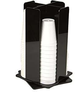 Mind Reader 4 Compartment Acrylic Rotating Cup and Lid Dispenser, Black
