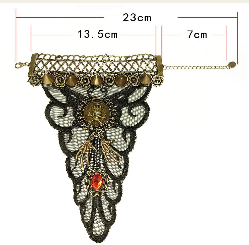 Lace Spider Skull Black Lace Rose Skull Spider Web Retro Fashion Ladies Gloves Halloween Decorations Ivank Halloween Costume Bracelet and Ring Attached