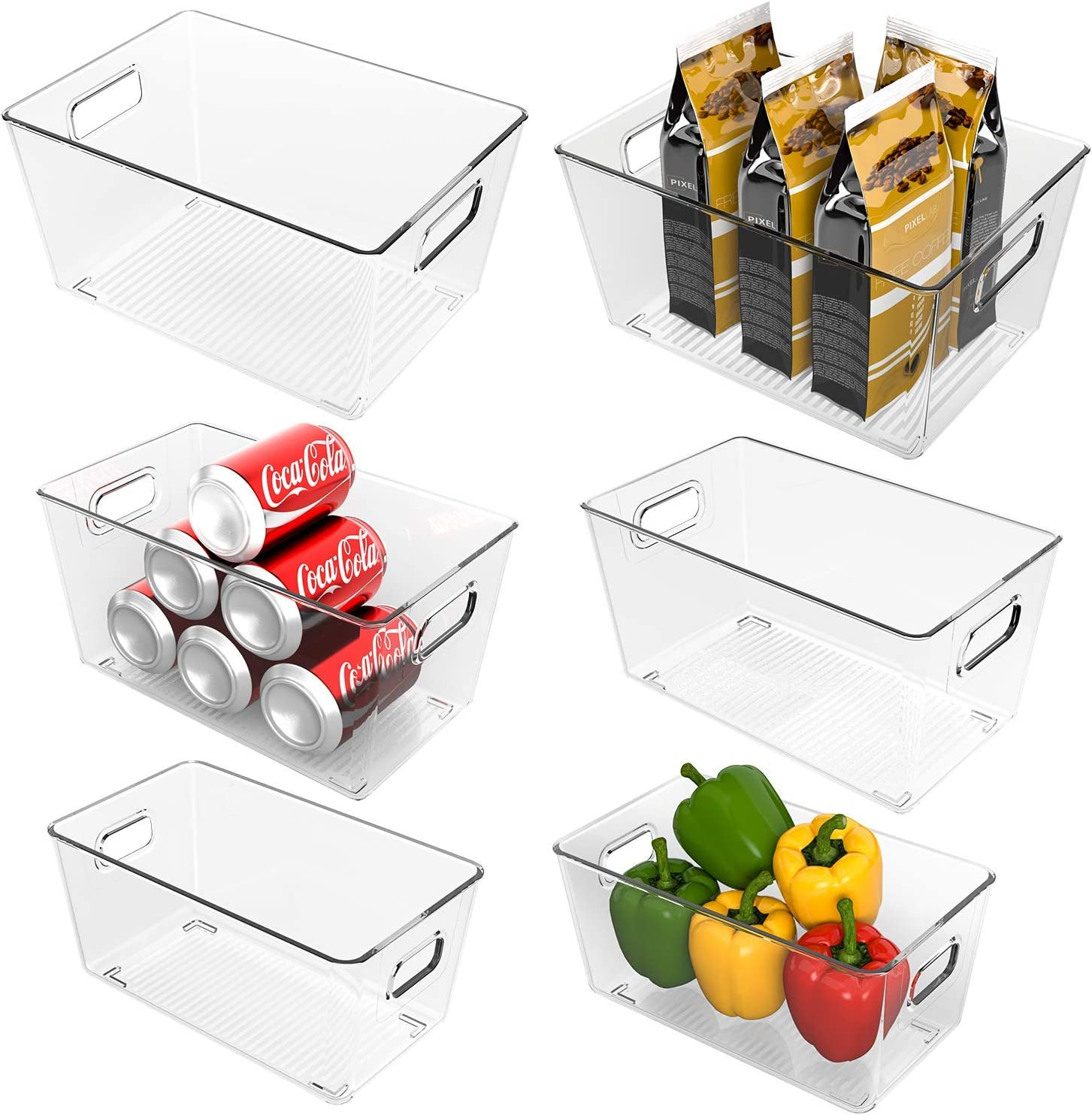 Ohuhu Fridge Organizers and Storage Clear, Refrigerator Organizer Bins, 6PCS Pantry Organizer, Plastic Storage Bins, Food-Grade PET Material Shatter-Resistant for Kitchen, Countertops, Cabinets