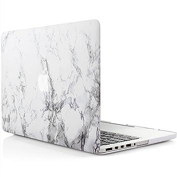 iDOO Funda dura de goma con acabado mate [Para MacBook Pro Retina 13 Pulgadas - sin unidad de CD: A1425 / A1502] - Color mármol blanco