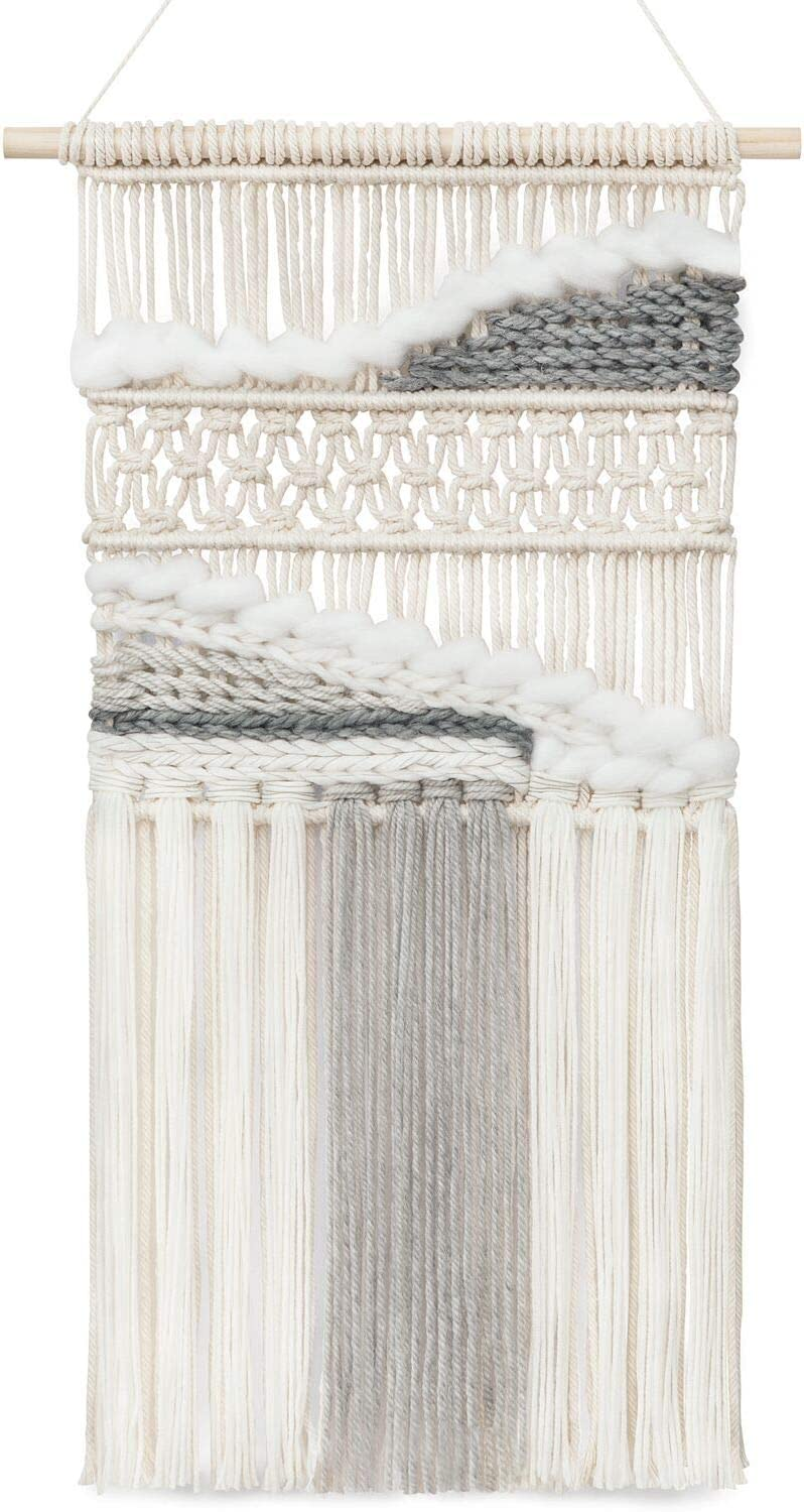 Mkono Macrame Wall Hanging Woven Boho Decor Gray Yarn Fringe Tassel Handmade Home Decoration for Bedroom Living Room Dorm Nursery Apartment, 15''W x 26''L