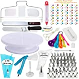Cake Decorating Supplies Kit VIPorama 100pcs Set 1 Cake Turntable Stand 2 Icing Spatulas 48 Icing Tips 1 Cake Leveler 31 Pastry Bags 1 Cake Flower Nail 2 Pens 3 Scrapers 5 Measuring Spoons