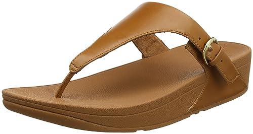 Fitflop Women Skinny Toe Thong Leather Heels Sandals, Brown (Caramel), 3 UK