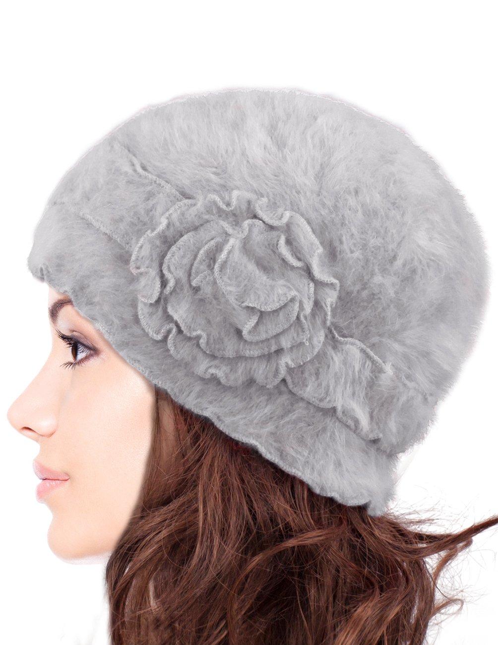 Dahlia Women's Super Soft Flower Laciness Knit Beanie Hat - Gray
