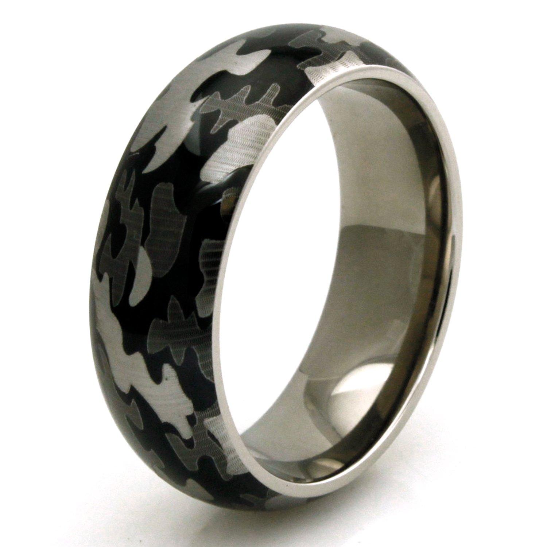 TIONEER Titanium Green Camo Men's Wedding Band Anniversary Ring