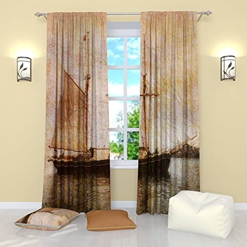 Factory4me Vintage Curtains Collection Old Ship. Window Curtain Set of 2 Panels Each W52 x L96 Total W104 x L96 inches Drapes for Living Room Bedroom Kitchen
