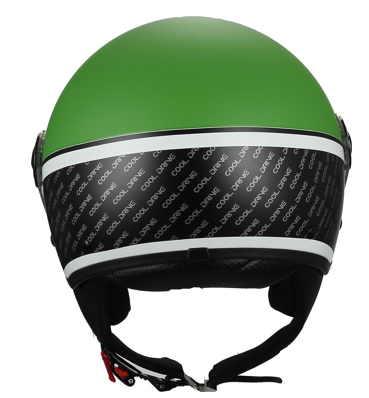 BHR 33450 Casco Moto Demi-Jet Modelo 801 con Linea One Verde Opaco M