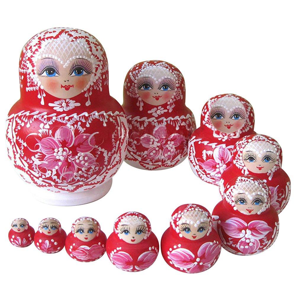 YAKELUS Marchio di Matrioska specializzato, nesting dolls Matrioske Bambola Matrioska russa in 10 pezzi, tiglio di zona frigida, regalo e giocattolo 1072