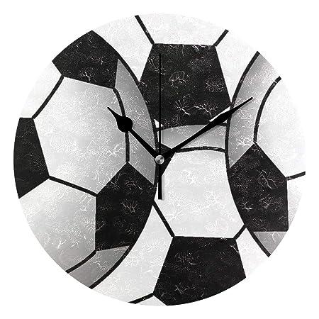 Ladninag Reloj de Pared patrón balón de fútbol silencioso no Hace ...