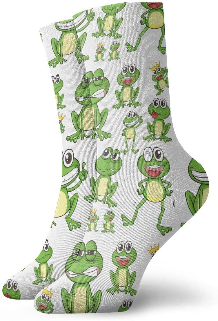 BEDKKJY Funny Green Frogs Adult Short Socks Cotton Gym Socks for Mens Womens Yoga Hiking Cycling Running Soccer Sports