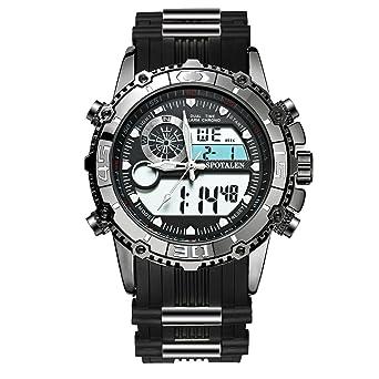 4fce92e188 メンズ腕時計 電子運動ウォッチ ブラック クォーツ 日常的な防水 アナデジ表示 SPOTALEN