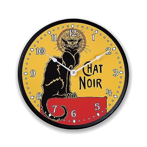 Amazon.com: Black cat clock French cat clock cat art chat noir wall ...