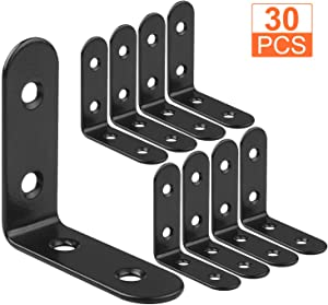 30 PCS Black Corner Brace 50 x 50 mm Heavy Duty L Bracket Stainless Steel 90 Degree Angle Wall Mounted Bracket Fastener, 2 mm Thickness Corner Brackets with Screws
