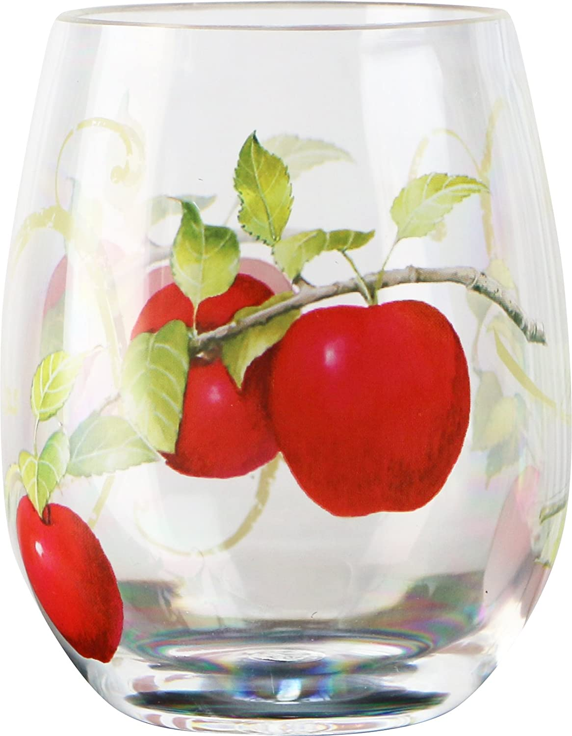 Reston Lloyd Harvest Apple Collection By Sandy Clough, 16 oz Stemless Wine Glass Set of 4, Clear