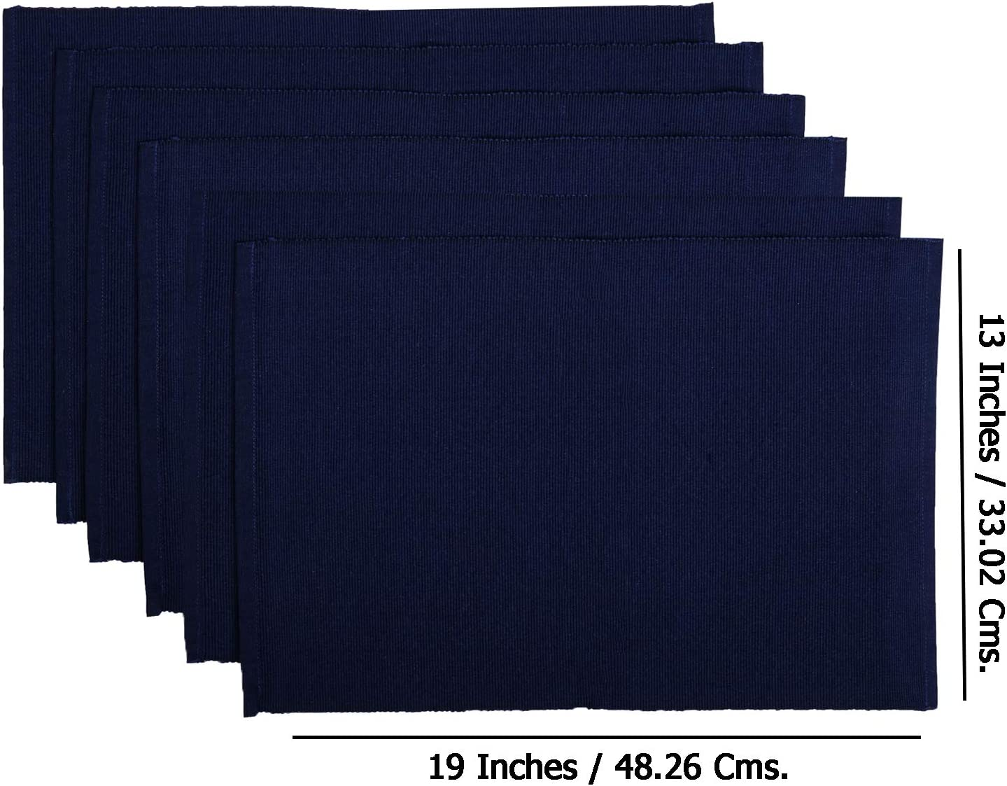 Set of 6 Thin Striped Blue Natural Linen Placemats