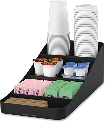 Mind Reader Trove 7 Compartment Coffee Condiment Organizer Black Amazon Co Uk Kitchen Home