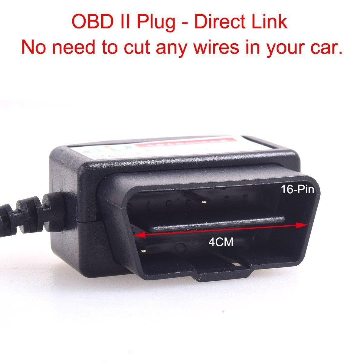 HTC Samsung Blackberry Cocar Auto OBDII Caricabatteria Cavo Mini USB Adattatore con Pulsante interruttore 16Pin OBDII Connettore Caricabatteria per GPS DVR Dash E-dog Telefono 3M//11.5FT 12-24V