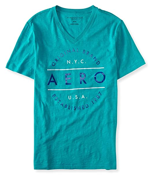 1f344aae7835 Aeropostale Men's Aero Original Brand V-Neck Graphic T Shirt L Cool  Turquoise