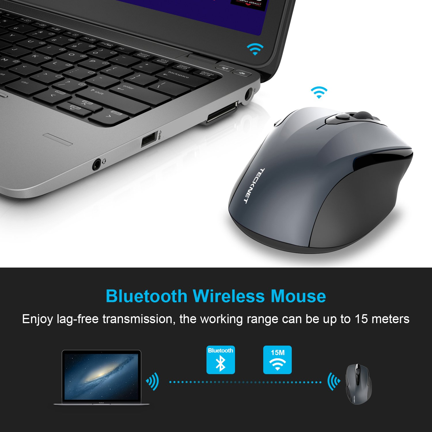 d3e747d7b91 TeckNet Bluetooth Mouse, 2600DPI Adjustable Wireless Mouse With 24 Months  Battery Life Cordless Mice for PC/Tablet/Laptop Portable Small Travel Mouse:  ...