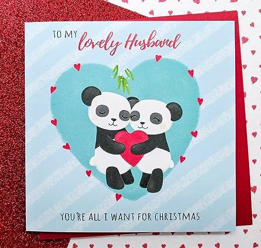 Husband christmas card hand drawn cute pandas card husband cards husband christmas card hand drawn cute pandas card husband cards romantic christmas card m4hsunfo