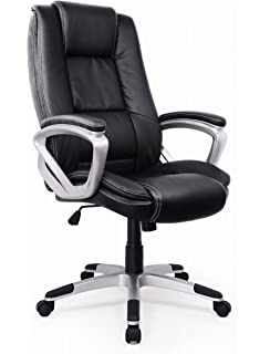 High Back Executive Office Chair, Faux Leather Large Seat Reclining  Computer Desk Chair With
