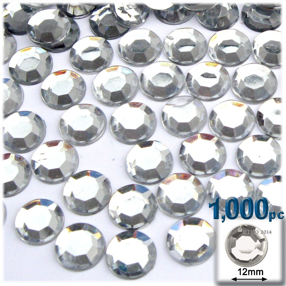 The Crafts Outlet 1000-Piece Loose Flatback Acrylic Round Rhinestones, 12mm, Crystal Clear by The Crafts Outlet
