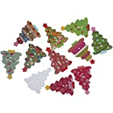 Souarts Mixed Random Christmas Tree Shape 2 Holes Wooden Buttons for Sewing Crafting Pack of 50
