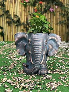 OUSHUAI Sculpture Flower Pot Outdoor Large Decorative Indoor Planter with Drain Hole Statue Planter for Patio Lawn Yard Backyard Garden Decor Gifts (Elephant) 13.2