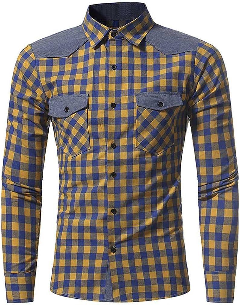 Usopu Mens Casual//Daily Classic Plaid Patchwork Slim Fit Long Sleeve Shirt
