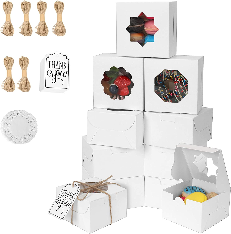BakeryBoxeswithWindow,60PcsCookieBoxes4x4x2.5inchesTreatBoxforCupcakesandCoveredStrawberry,PastryBoxwith3TypesofWindow&Twine&ThankYouTag&PaperDoilies(60,white)