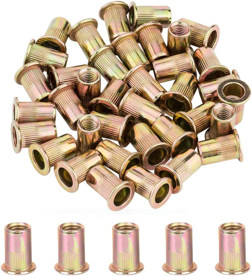 YANWOO 50pcs 3//8-16 UNC Carbon Steel Flat Head Rivet Nuts Threaded Insert Nut