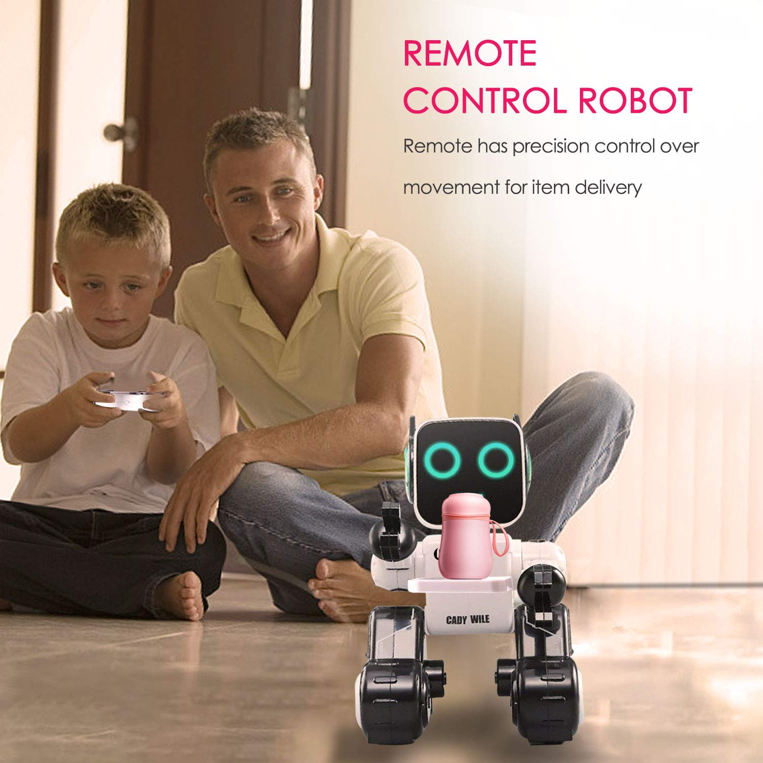 Remote Control Toy Robot for kids,Touch & Sound Control, Speaks, Dance Moves, Plays Music, Light-up Eyes & Mouth. Built-in Coin Bank. Programmable, Rechargeable RC Robot Kit for Boys, Girls All Ages. by IHBUDS (Image #8)