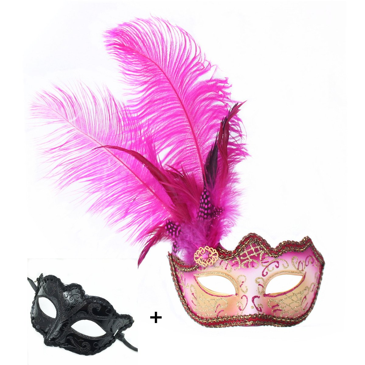 Haojing Masquerade Carnival Mardi Gras Costume Venetian Halloween Party Mask with Feather Flower and Gift(Fuschia Feathers+G)